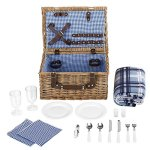 VonShef-Deluxe-2-Person-Traditional-Wicker-Picnic-Basket-Hamper-with-Cutlery-Plates-Glasses-Tableware-Fleece-Blanket-0-0