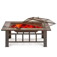 IKAYAA Iron Rectangular Fire Pit with Fire pit Cover and ...