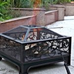26-Square-Steel-Wood-Burning-Fire-Pit-Antique-Bronze-W-Cover-Screen-Poker-0