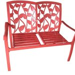 44-Crimson-Red-Cast-Aluminum-Leaf-Silhouette-Outdoor-Patio-Bench-0
