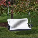 4FT-BRIGHT-WHITE-POLY-LUMBER-ROLL-BACK-Porch-Swing-with-Cupholder-arms-Heavy-Duty-EVERLASTING-PolyTuf-HDPE-MADE-IN-USA-AMISH-CRAFTED-0