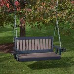 4FT-WEATHERED-WOOD-POLY-LUMBER-Mission-Porch-Swing-with-Cupholder-arms-Heavy-Duty-EVERLASTING-PolyTuf-HDPE-MADE-IN-USA-AMISH-CRAFTED-0