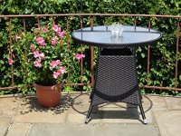 5 Pc Patio Resin Outdoor Wicker Dining Set. Round Table w ...