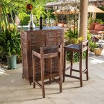 Contemporary-3-piece-Outdoor-Bar-Set-Includes-1-Bar-and-2-Barstools-Constructed-from-Strong-Acacia-Wood-Assembly-Required-Bar-weighs-44-Pounds-Barstool-Weigh-1325-Pounds-Each-Mahogany-Finish-0