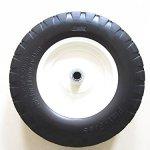 Kunhua-16-PU-B-FK-20-480400-8-Flat-Free-Wheelbarrow-Tire-with-Knobby-Tread-6-Centered-HubTwo-Sides-Symmetrical-34-Ball-Bearings-155-Tire-Diameter-0-0
