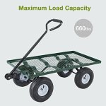Mecor-Yard-Wagon-Cart-Garden-Utility-Lawn-Heavy-Duty-Steel-Cart-with-WheelsFlat-Free-Tires-660lbs-Multifunctional-Pulling-Wagon-0-1