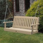 Modern-4-Foot-Eco-Friendly-Synthetic-Wood-Porch-Swing-Doesnt-Absorb-Moisture-Repels-Dirt-and-Grime-Zinc-Plated-Steel-Chain-Included-Durable-and-Solid-500-Pound-Weight-Capacity-Multiple-Finishes-0