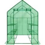 Water-Resistant-Portable-Greenhouse-Door-Vent-Made-w-Polyethylene-Film-Steel-in-Green-Color-64-H-x-45-W-x-45-D-0