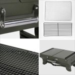 YI-HOME-Barbecue-Stainless-Steel-Outdoor-Folding-BBQ-Mini-Camping-Charcoal-Grill-Tool-Army-Green-0-2