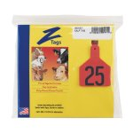 Z-Tags-1-Piece-Pre-Numbered-Laser-Print-Tags-for-Calves-Numbers-from-126-to-150-Red-0