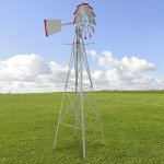 8-Windmill-Ornamental-Garden-Weather-Vane-Weather-Resistant-Silver-and-Red-0
