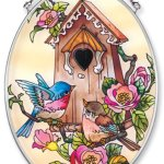 Amia-Hand-Painted-Glass-Suncatcher-with-Bluebird-and-Birdhouse-Design-5-14-Inch-by-7-Inch-Oval-0
