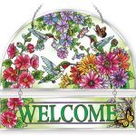 Amia-Hospitality-Panel-Hand-Painted-Hummingbird-Design-in-Beveled-Glass-12-by-11-Inch-0