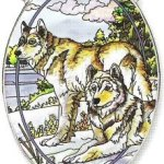 Amia-Oval-Suncatcher-with-Wolf-Design-Hand-Painted-Glass-6-12-Inch-by-9-Inch-0