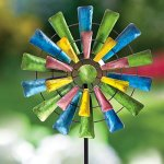 Bits-and-Pieces-Set-of-Two-2-Dots-and-Paddle-Mini-Wind-Spinners-Decorative-Kinetic-Wind-Mills-Unique-Outdoor-Lawn-and-Garden-Dcor-Lawn-Ornaments-0-1