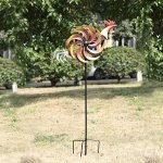 CEDAR-HOME-Wind-Spinner-Twirler-Sculpture-Garden-Stake-Outdoor-Metal-Stick-Art-Ornament-Flaming-Rooster-Figurine-Decor-for-Lawn-Yard-Patio-31-W-x-7-D-x-64-H-0-1