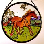 Decorative-Hand-Painted-Stained-Glass-Window-Sun-CatcherRoundel-in-a-Horse-and-Foal-Country-Scene-Design-0