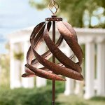 Solar-Copper-Colored-Metal-Garden-Wind-Spinner-Sculpture-Decorative-Yard-Art-215-Diam-x-75-H-0