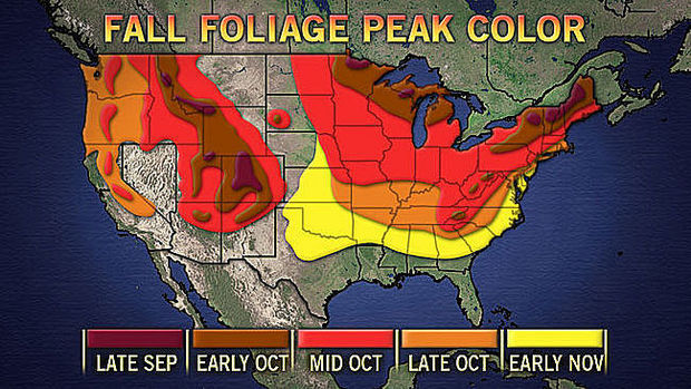 Fall foliage peak color map for the United States by month