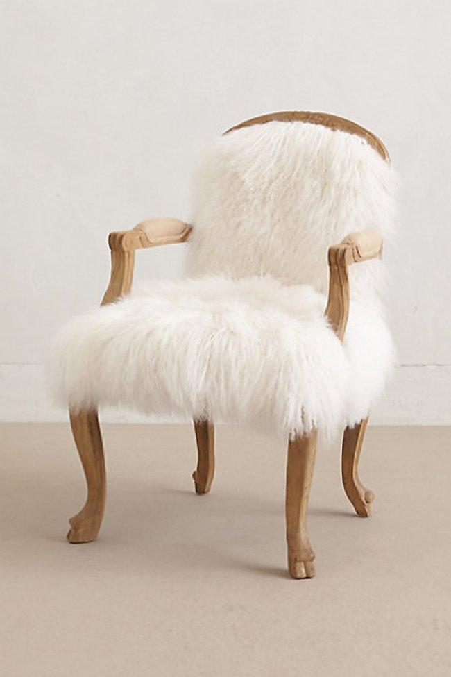 Anthropologie White Fur Occasional Chair - farmgirlbigcity