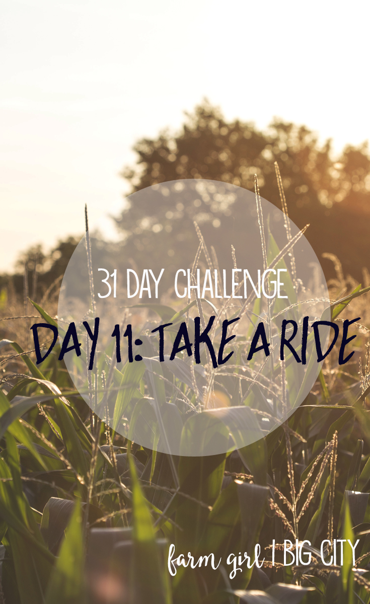 31 day challenge to building relationships with your loved ones - Day 11 Take a ride (via farm girl big city)