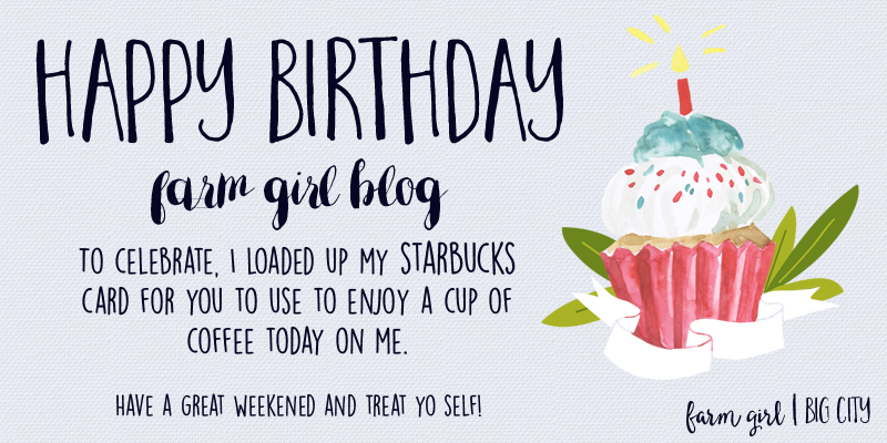 One year celebration for farm girl big city blog - I'm buying Starbucks for my subscribers to have a free cup of coffee on me!