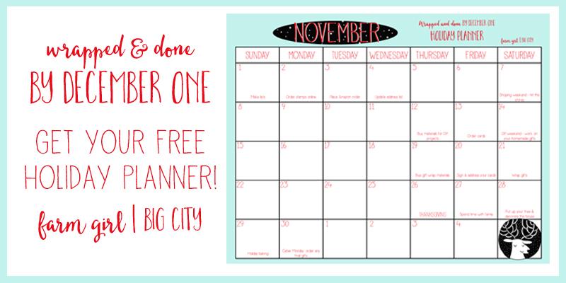 Free Christmas Planner with downloadable checklists (via farm girl big city)
