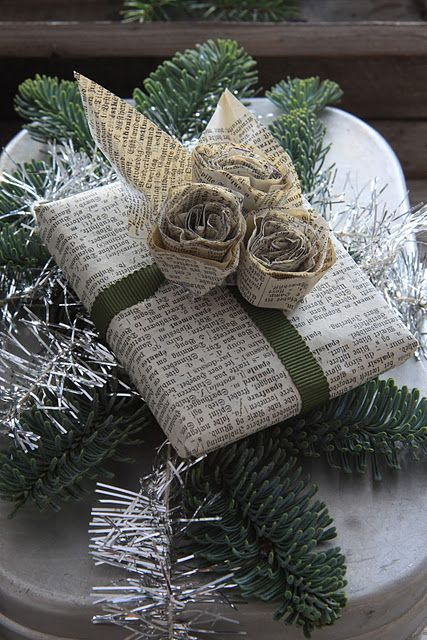 Unique gift wrap - newspaper wrapping with roses