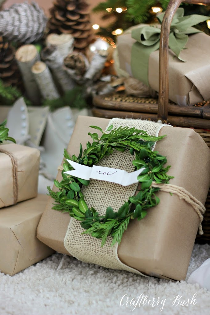 Unique gift wrap - kraft paper with burlap and wreath