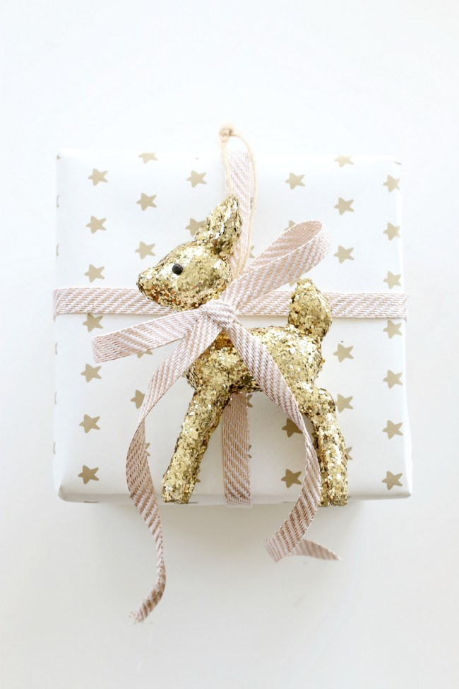 Unique gift wrap ideas - white and gold with gold glitter rudolph ornament