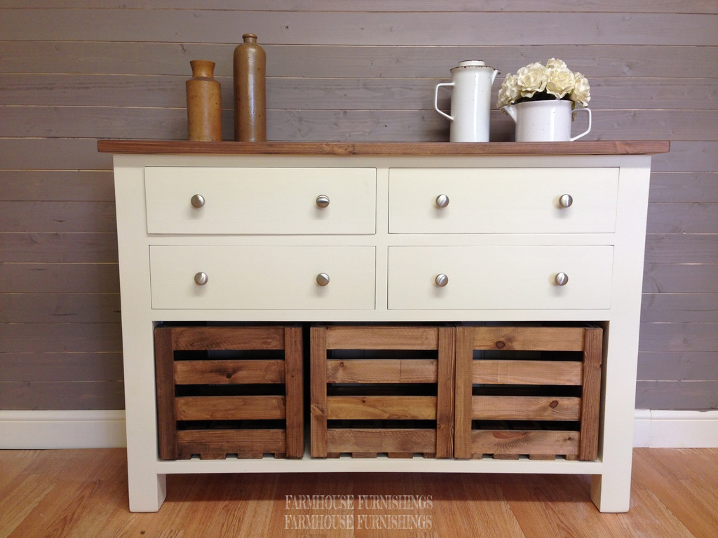 Solid Pine Sideboards For Sale 4ft Rustic Solid Pine Sideboard With Crate Storage