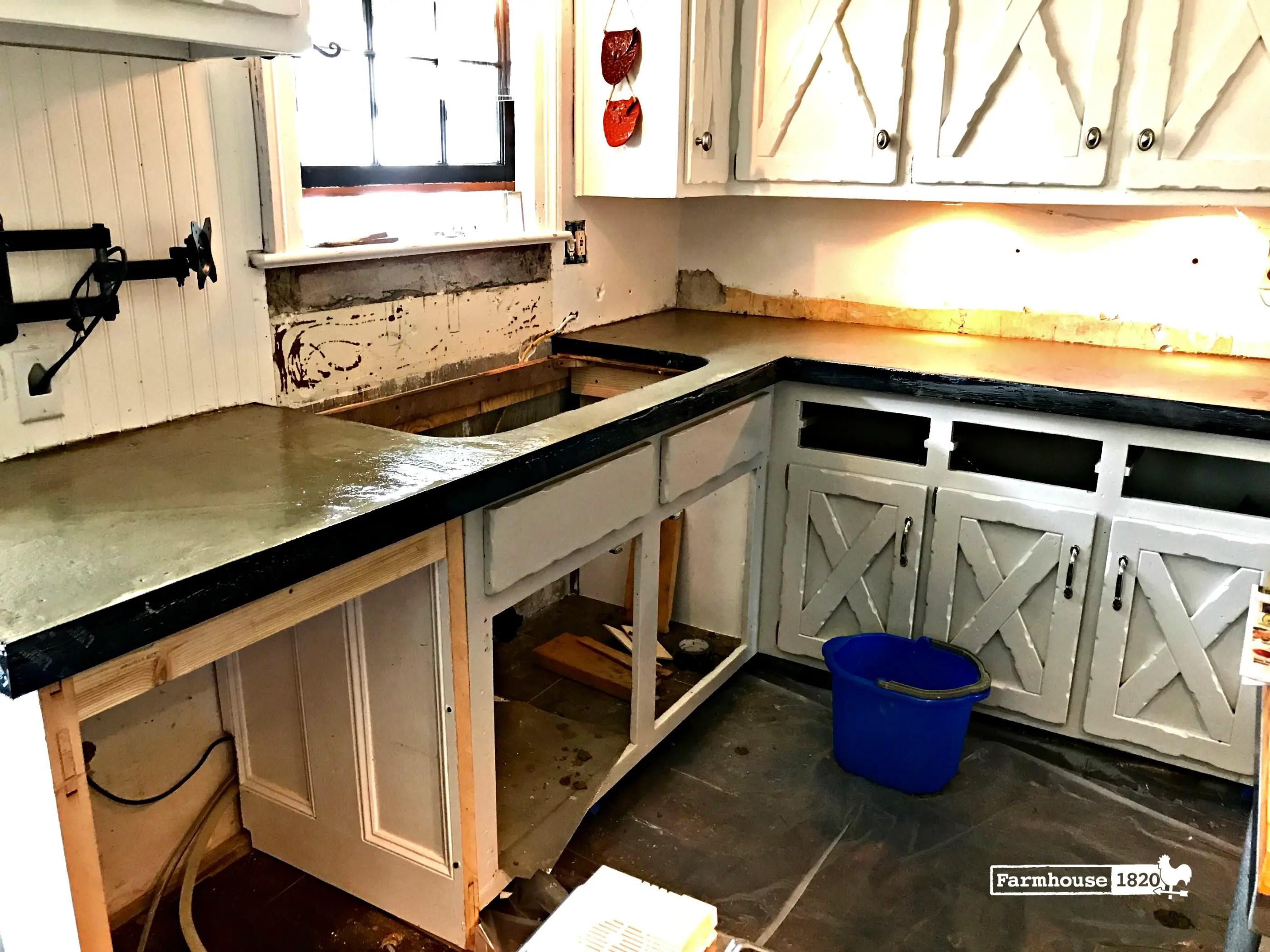 DIY Kitchen Concrete Countertops  Part One  Farmhouse 1820