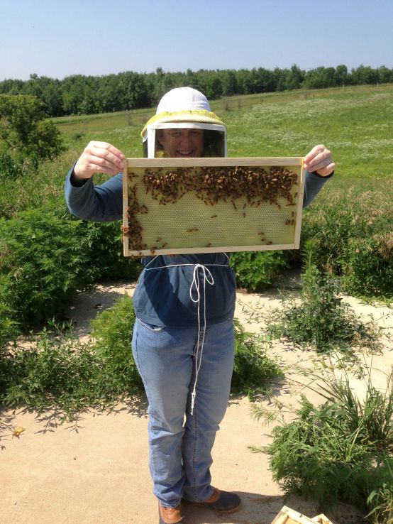 Molly with her honey bees
