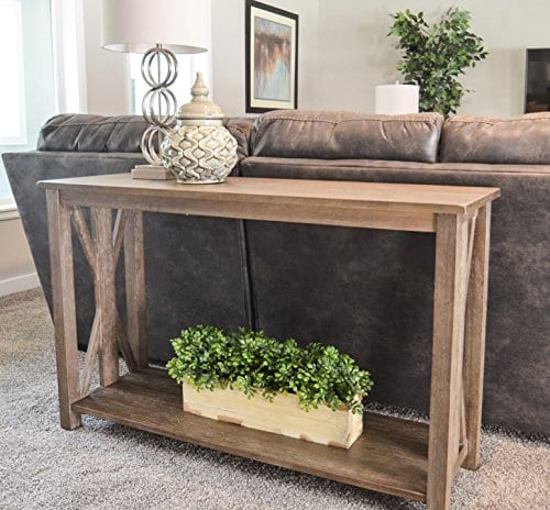 Solid Rustic Grey Wood Farmhouse Console Table Farmhouse