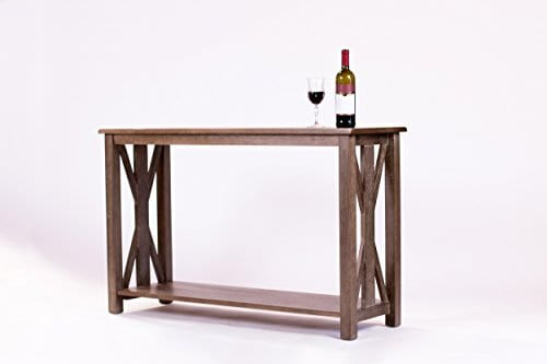 Solid Rustic Grey Wood Farmhouse Console Table, 48u2033 X 30u2033