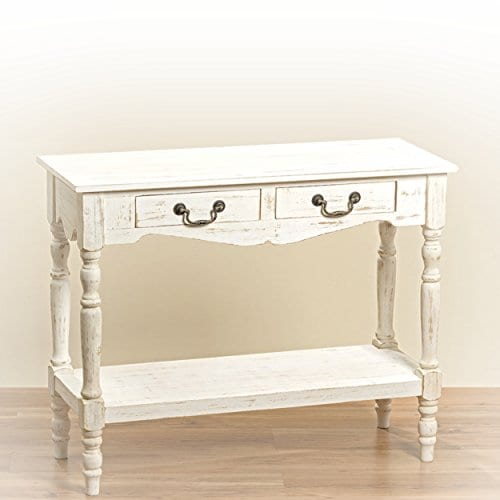 French Country Style 2 Drawer Shabby Chic Console Table