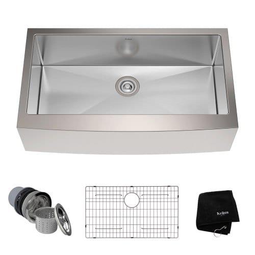 kraus single basin 16 gauge stainless steel kitchen sink     kraus single basin 16 gauge stainless steel kitchen sink 36      rh   farmhousegoals com