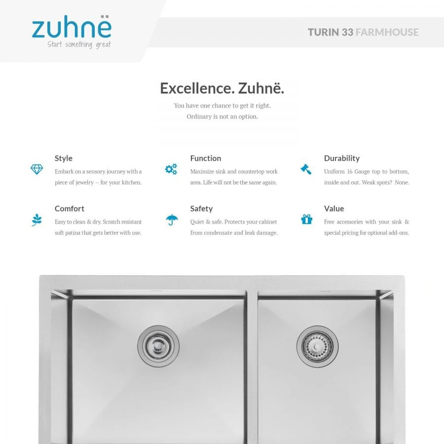 Zuhne farmhouse deep double 16 gauge stainless steel kitchen sink workwithnaturefo
