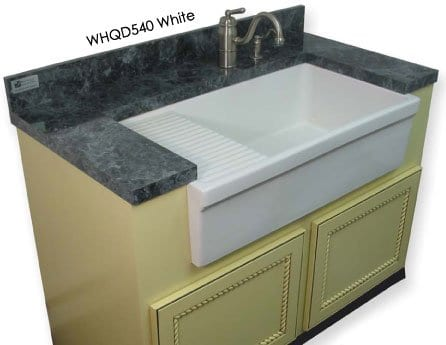 Whitehaus Fireclay Single Bowl Farmhouse Apron Sink, 36\