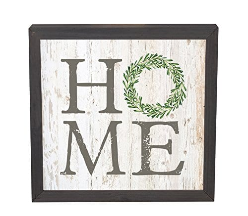 Home Laurel Wreath White Wash 11 x 11 Inch Solid Pine Wood Plaque ...