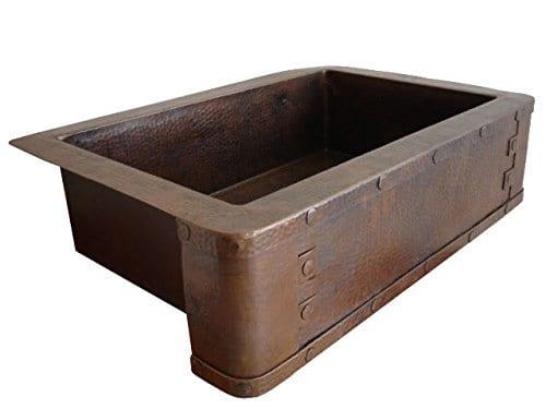 Ariellina Farmhouse 14 Gauge Hammered Copper Kitchen Sink ...