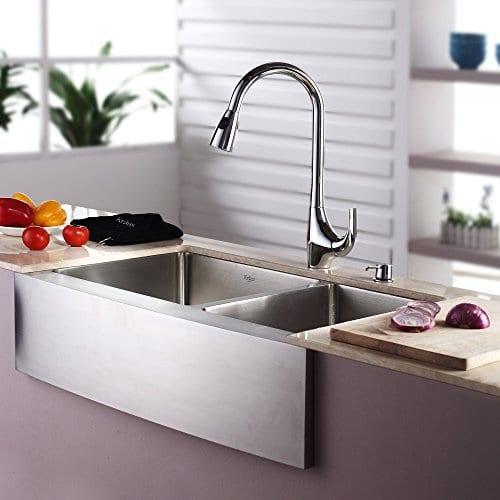 Kraus Double Bowl Stainless Steel Farmhouse Kitchen Sink, 33 ...