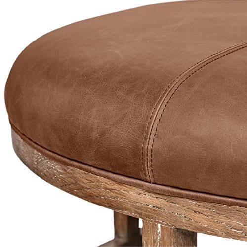 amazon brand stone beam norah leather and wood round ottoman 39 5 saddle brown