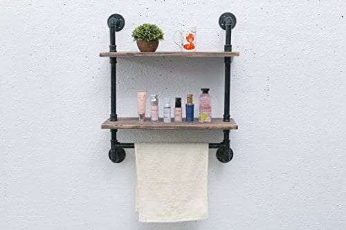 Industrial Pipe Bathroom Shelf Wall Mounted with Towel Bar 24 ...