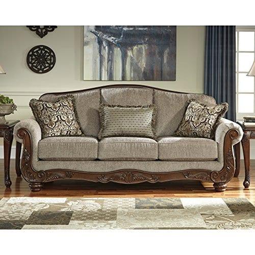 ashley furniture signature design cecilyn traditional style rolled arm sofa cocoa farmhouse goals