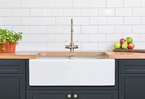 luxury 33 x 20 inch modern farmhouse ultra fine fireclay kitchen sink in white 50 50 double bowl reversible by barkano
