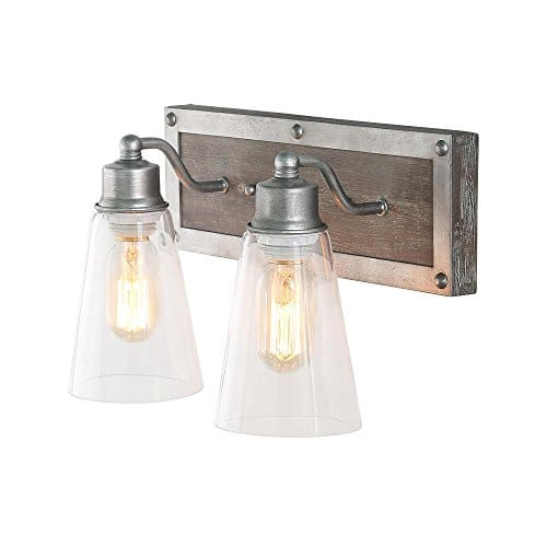 log barn 2 lights bathroom lighting in real distressed wood and brushed antique silver finish with cone clear glass