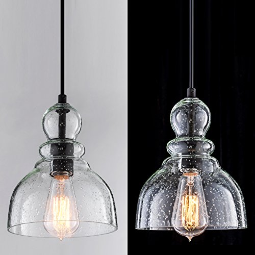 Lanros Industrial Mini Pendant Lighting With Handblown Clear Seeded Glass Shade Adjustable Cord Farmhouse Lamp Ceiling Farmhouse Goals