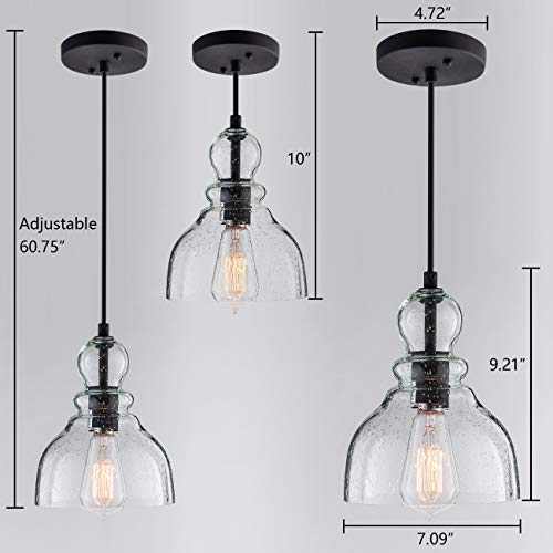 lanros industrial mini pendant lighting with handblown clear seeded glass shade adjustable cord farmhouse lamp ceiling