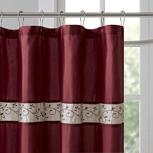 madison park serene flora fabric shower curtain embroidered transitional shower curtains for bathroom 72 x 96 red